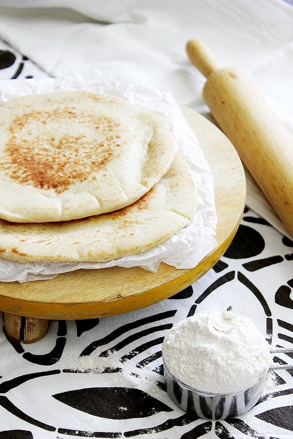 side shot of milk pita bread