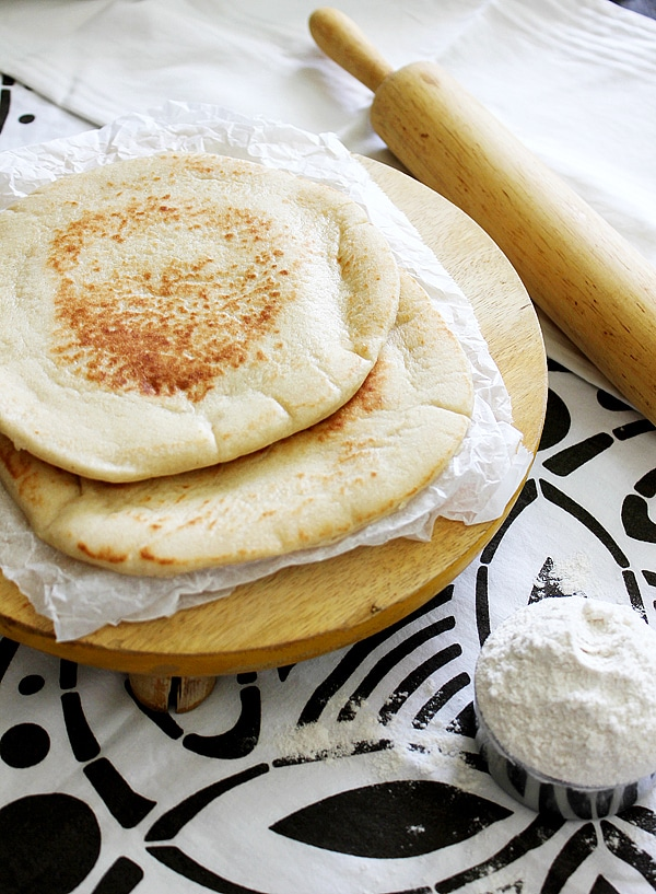 milk pita bread freshly made.