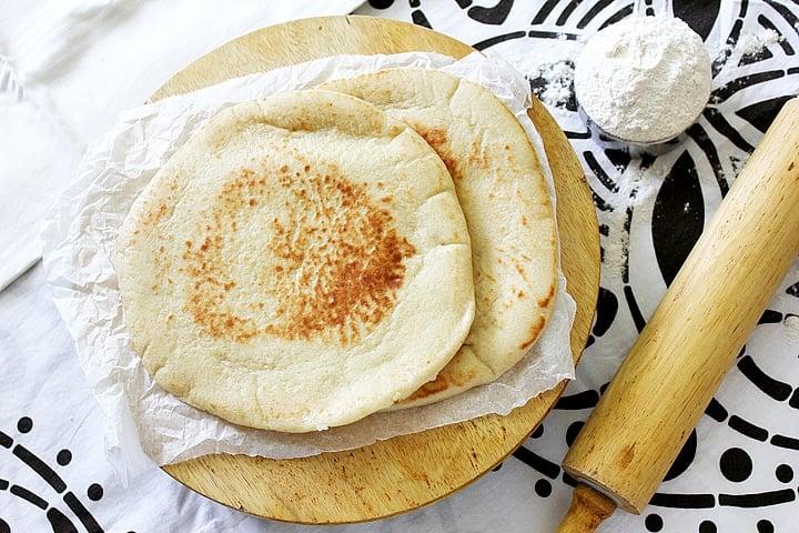 overhead shot of milk pita bread