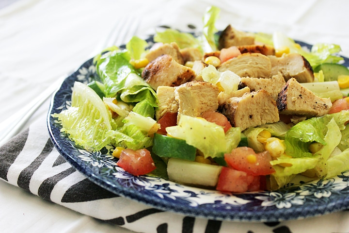 Cajun Chicken Salad in a blue plate.