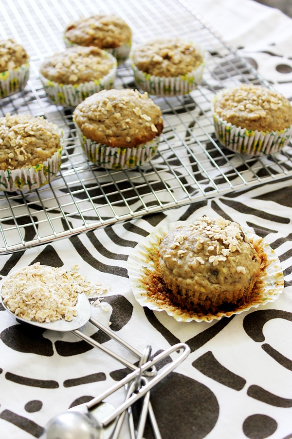 banana dates morning muffins served in cupcake liners.