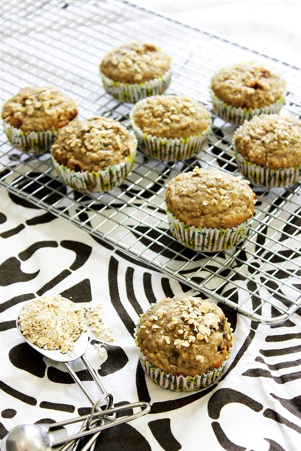 banana dates morning muffins on cooling rack