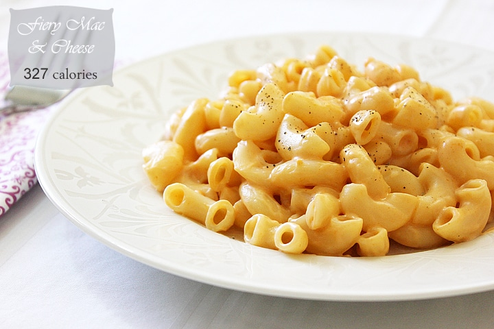 mac and cheese in white place.