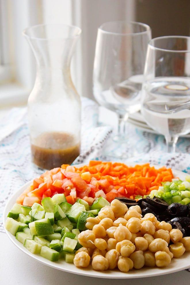 Close up shot of Chickpea Salad plate. #recipe #salad #heatlhy #saladdressing #vegan