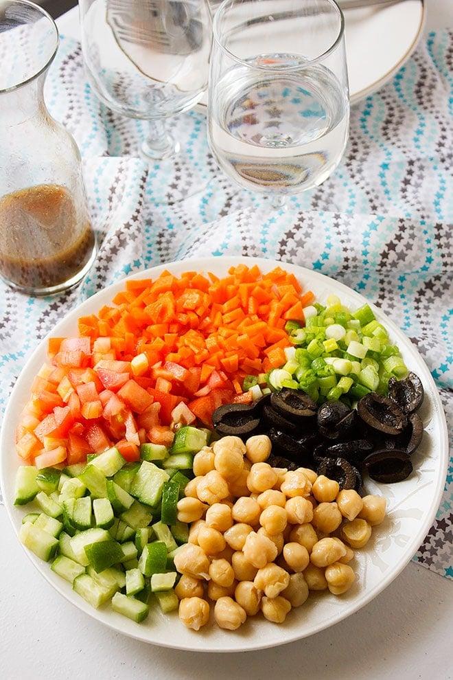 Over head shot of Chickpea Salad. #salad #saladrecipe #veganrecipe #healthy