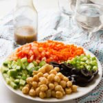 Chickpea Salad. A healthy and delicious salad that can keep you full for long. It has chickpeas, olives, tomatoes, and other fresh vegetables. Make some and enjoy. www.munatycooking.com | @munatycooking.