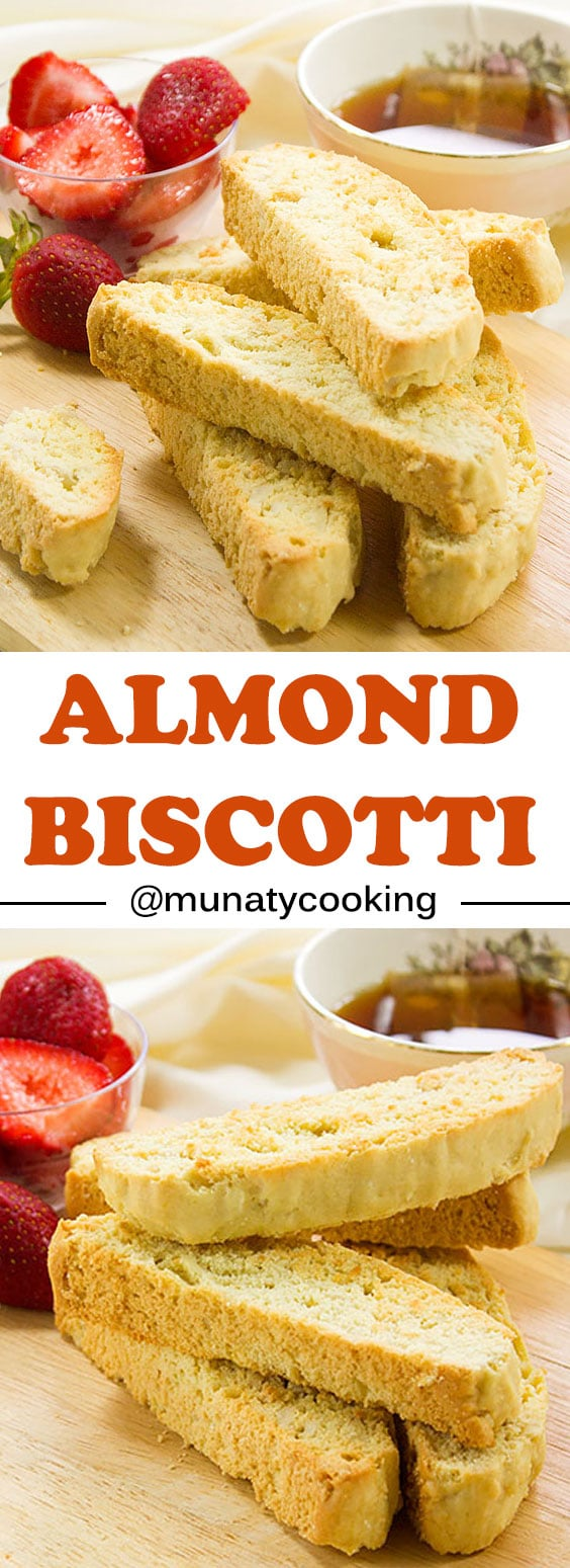 Almond Biscotti Cookies. Baked until lightly golden and crisp. These Italian Biscotti Cookies are great to dunk in your coffee or even milk. Your family will ask you to bake this often. www.munatycooking.com | @munatycooking