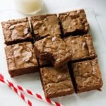 Fudge Brownies. These thick brownies are made from scratch, Chewy, Fudgy, and chocolaty brownies. It is a one bowl brownie recipe with crispy and crackly top. www.munatycooking.com | @munatycooking