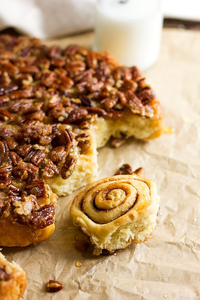 Sticky cinnamon rolls side shot.
