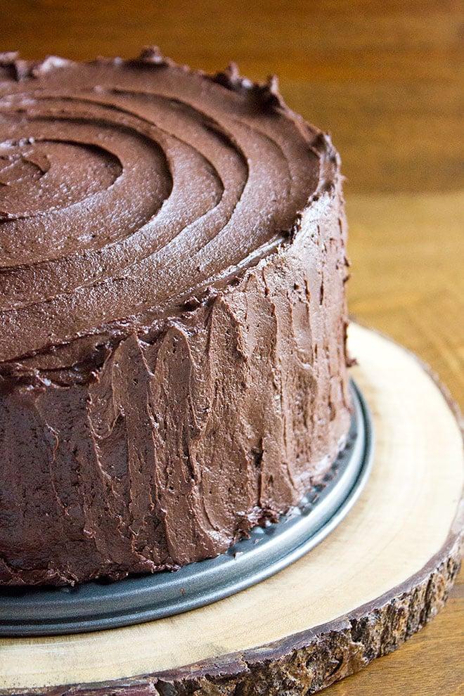 Devilish Chocolate Cake with chocolate frosting.