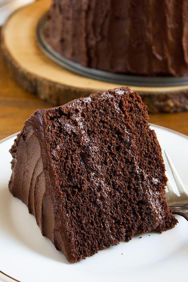 A slice of Devilish Chocolate Cake.