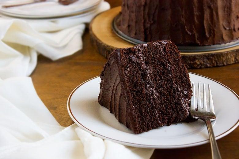Devilish Chocolate Cake served on white plate.