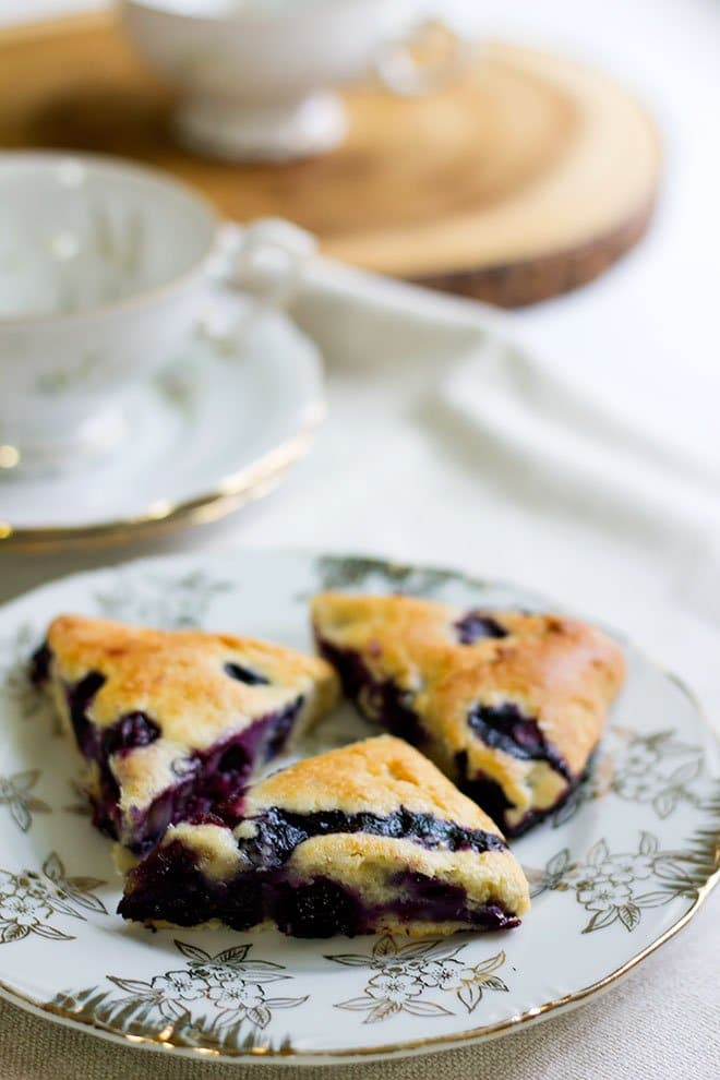 blueberry scone served in a plate.