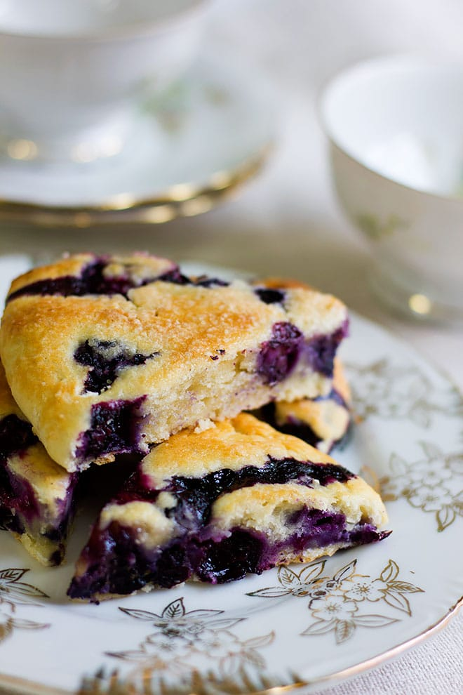 Close shot of blueberry scone.