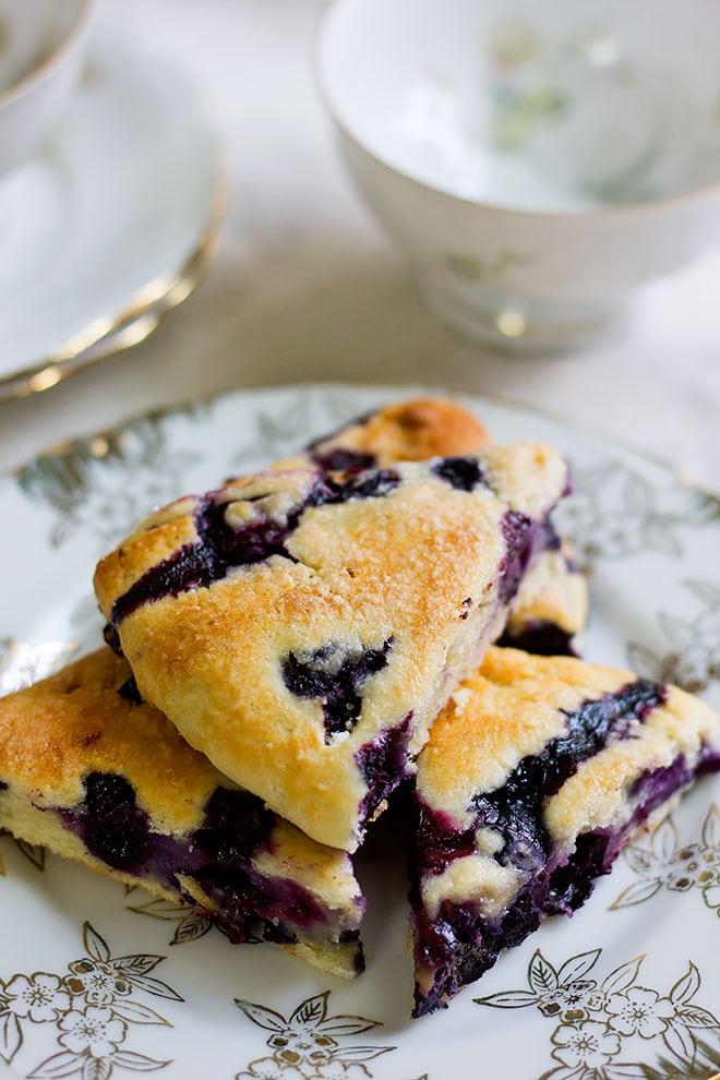Over head shot of blueberry scones.