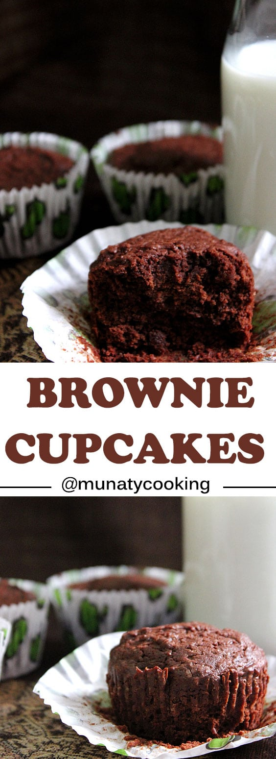 Brownie Cupcakes are made to please, chocolaty, rich, a little on the chewy side, perfection! www.munatycooking.com | @munatycooking #brownie #chocolate