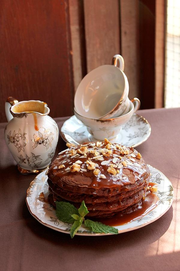 Chocolate pancake with caramel sauce.