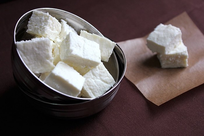 ... making ricotta cheese . Paneer or some call it Indian Cottage Cheese