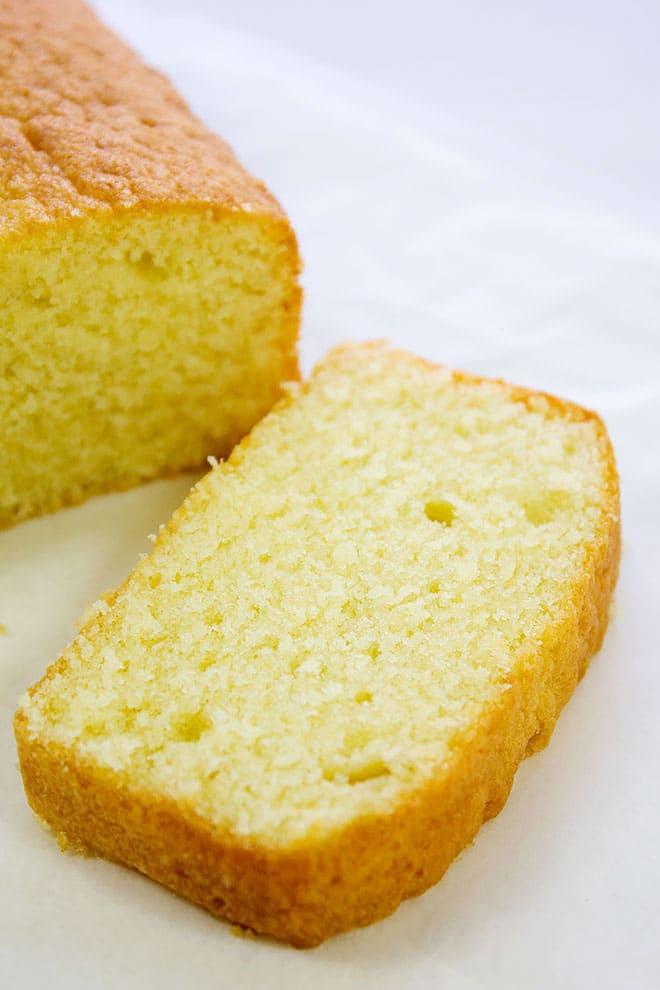 A slice of light pound cake.