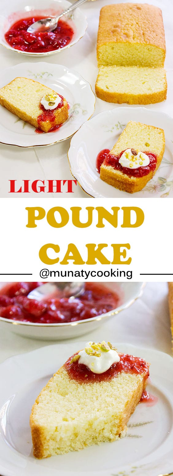 Light Pound Cake. My version of Light Pound Cake gives you the same flavor and texture you love in a Pound Cake but with much less calories. A moist and flavorful version, you won't believe it's low in calorie. www.munatycooking.com | @munatycooking