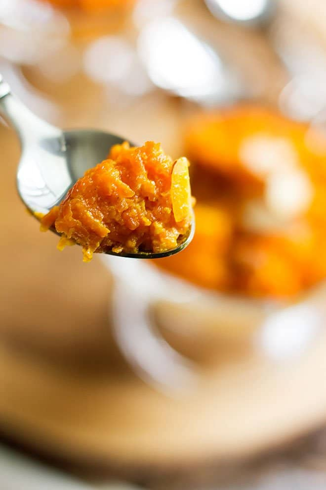 gajar ka halwa in a spoon.