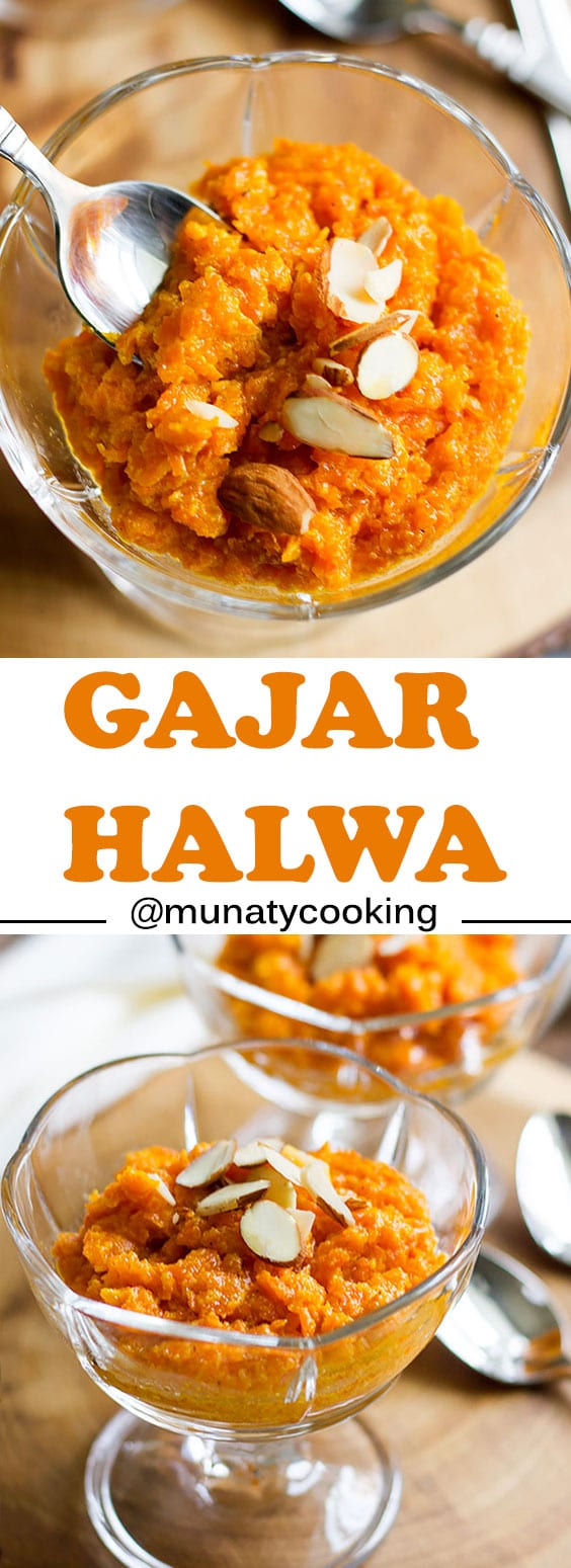 Gajar Halwa or Gajar Ka Halwa, an Indian dessert made of carrot and milk, perfumed with saffron and cardamom. Served in wedding and special occasions.