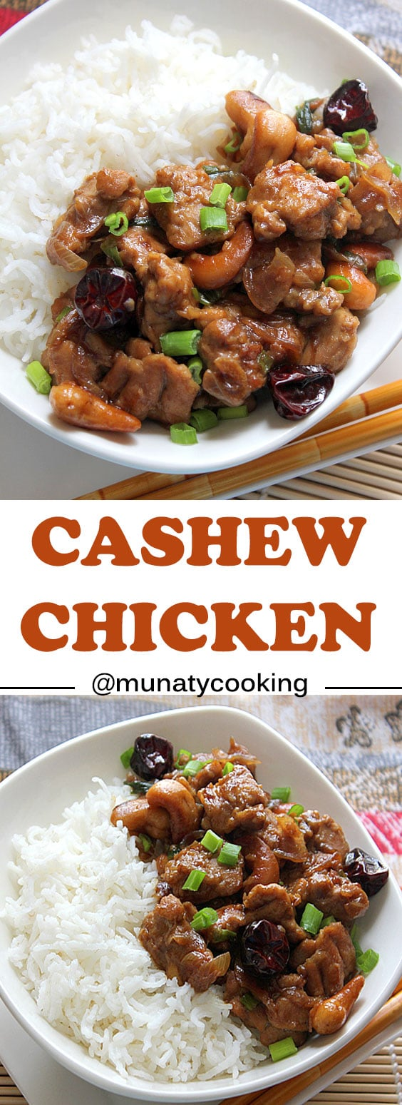 Cashew Chicken tastes much better when made at home. Follow this recipe to enjoy tender chicken cooked in mouthwatering sauce with fewer calories. www.munatycooking.com | @munatycooking