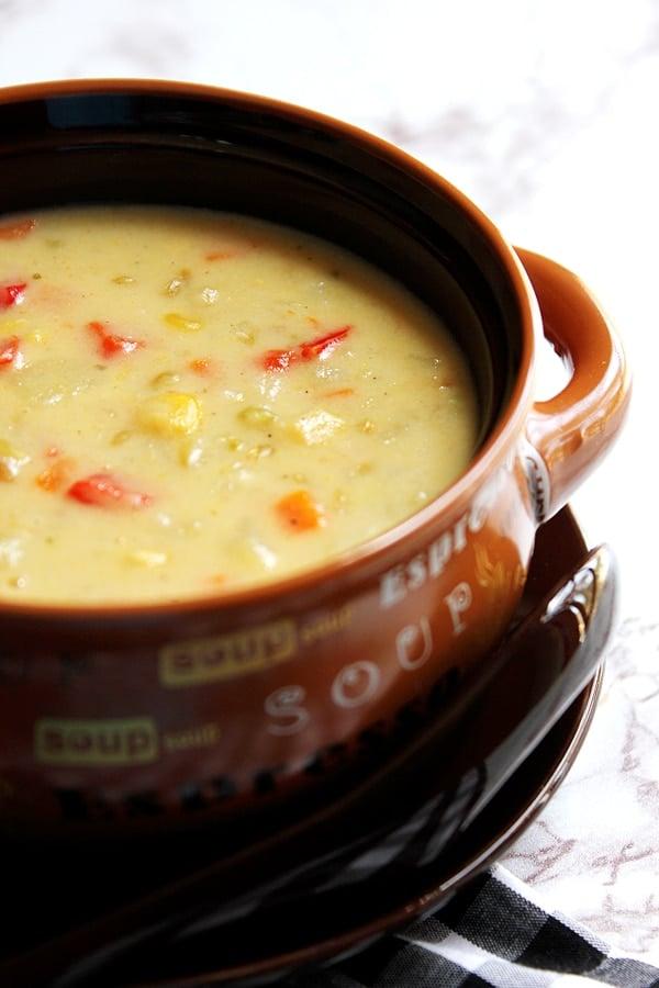 freekeh chowder served in a soup bowl.