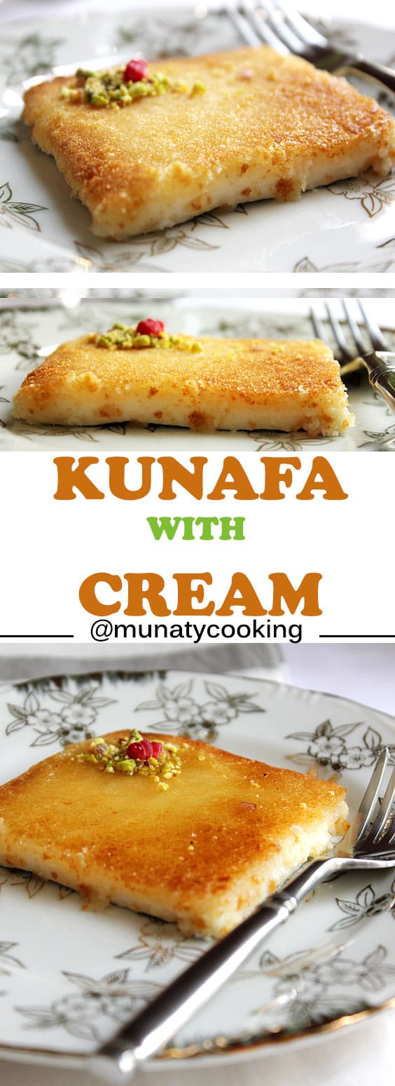 Kunafa with Cream. An Arabian dessert has a slight crunch from the outside and oh so creamy from the inside. Syrup is poured all over it while hot. One of the best desserts served in the Arab culture. كنافه www.munatycooking.com | @munatycooking