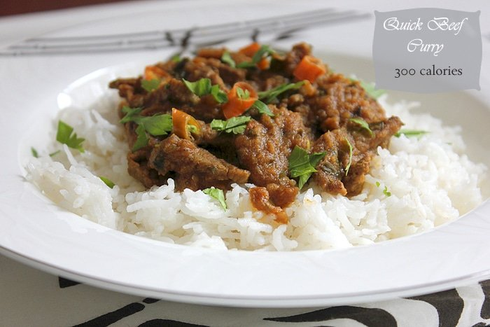 Quick beef curry on white rice.