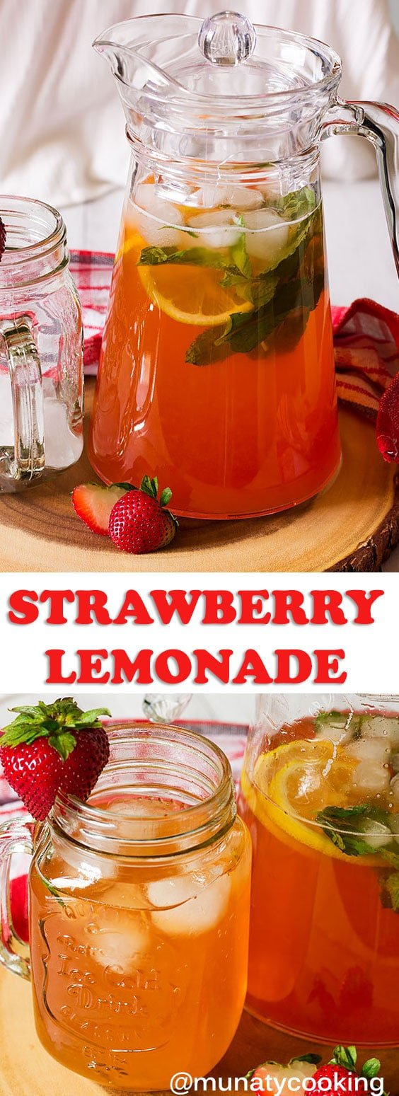 Refreshing homemade Strawberry Lemonade, a simple recipe to enjoy with your loved ones every single day. Simple ingredients and simple steps to make an amazing Summer drink. #strawberry #lemon #lemonade #recipes #homemade