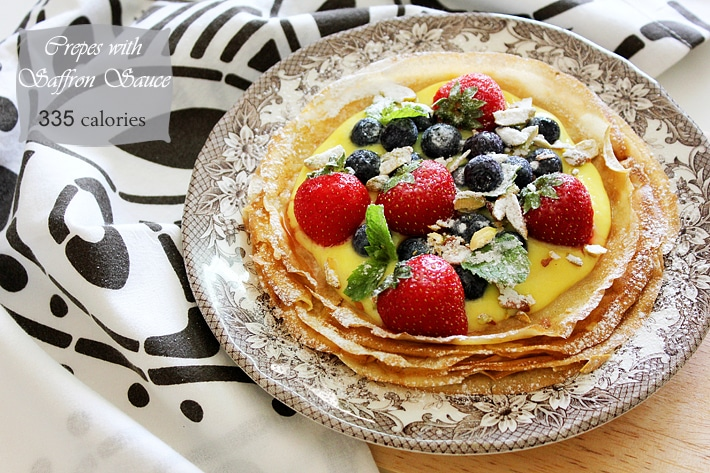 crepe with saffron sauce