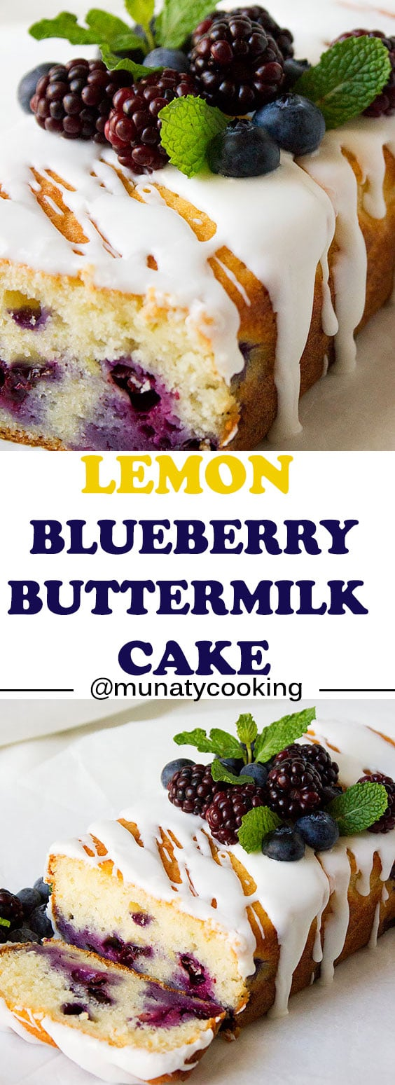 Lemon Blueberry Buttermilk Cake. A delicious ad refreshing cake, perfect for the summer yet you can enjoy it any time. Moist and the flavor is phenomenal. www.munatycooking.com | @munatycooking