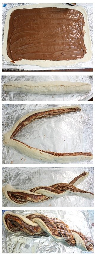 nutella braided bread all steps