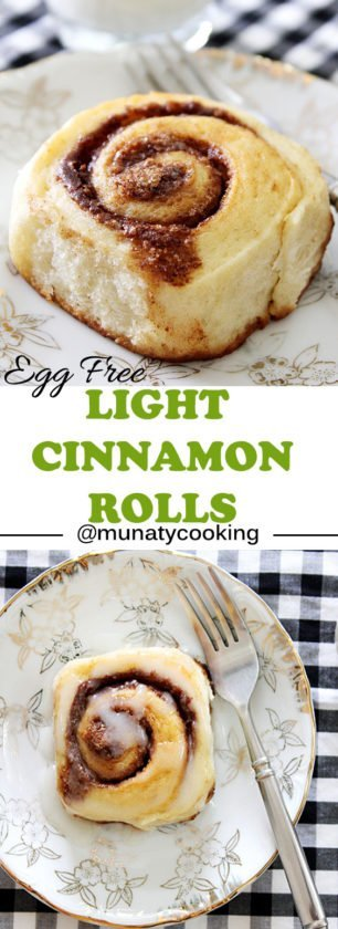 Light Cinnamon Rolls. These egg free cinnamon rolls are light and fluffy, it will melt in your mouth and you'll ask for more. Learn how to make Cinnamon rolls without eggs here www.munatycooking.com | @munatycooking