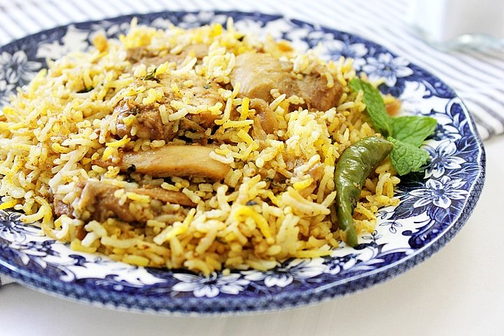 Freshly made chicken biryani.