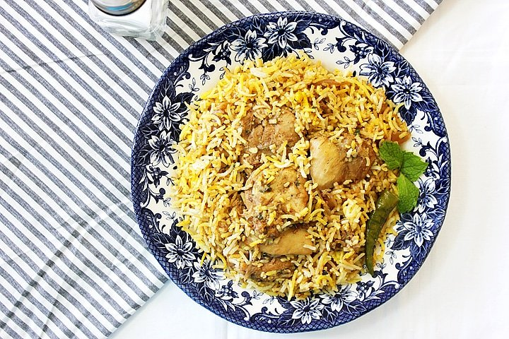 Overhead shot of chicken biryani.