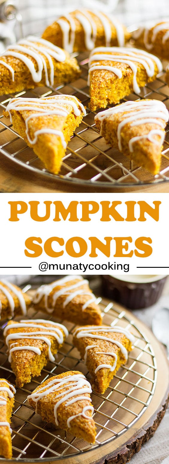 Pumpkin scones recipe, the same classic and delicious flavor without the eggs and milk. tender crumbs and simple icing, this is the perfect companion to your morning coffee. #scones #pumpkin