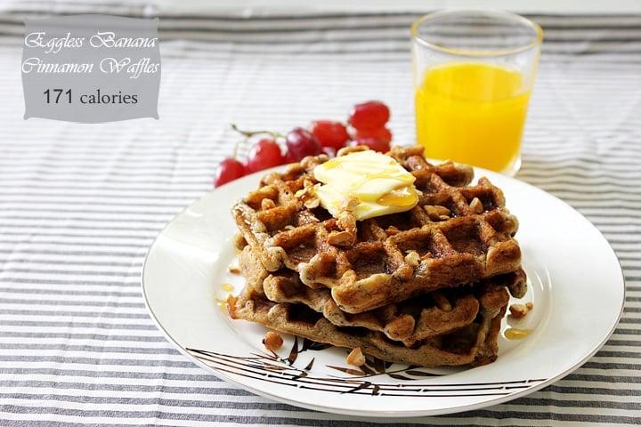 eggless banana cinnamon waffles