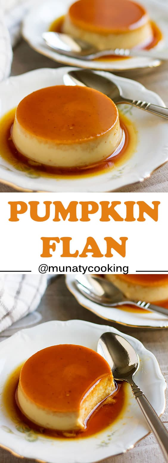 Pumpkin Flan Recipe, and easy dessert made of two layers, caramel and creamy custard. It is a quick to make and a good looking dessert on your dinner table. #caramel #flan
