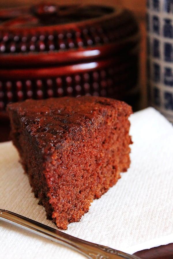 Light chocolate cake close up image