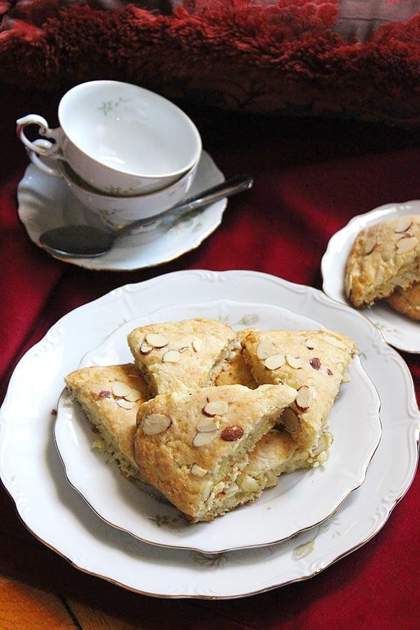 buttermilk coconut almond scones on white plate