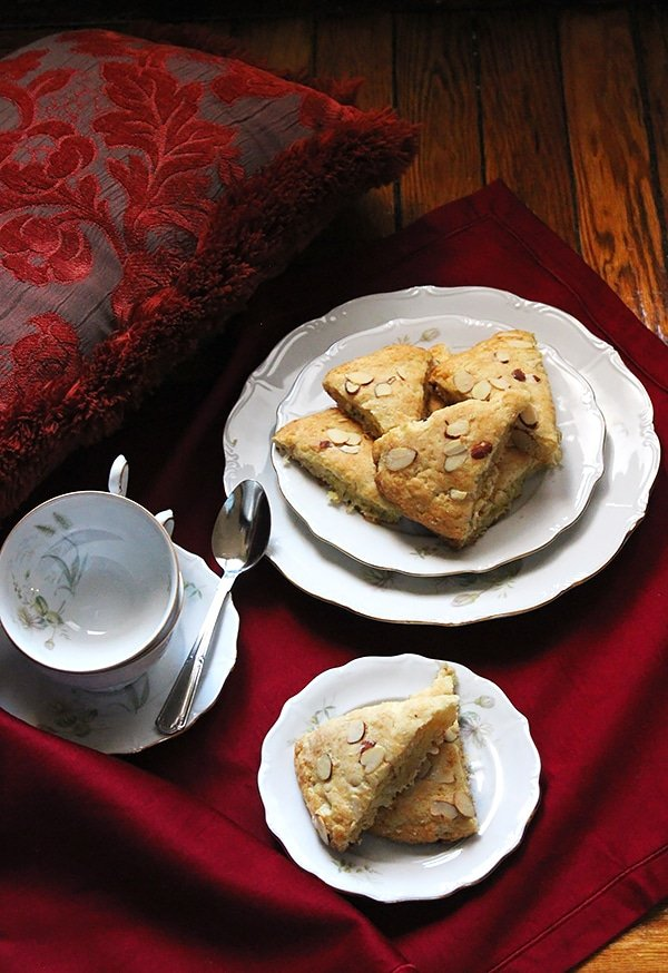 buttermilk coconut almond scones overhead shot