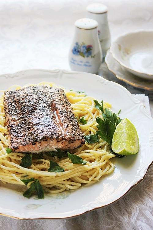 Baked salmon spaghetti al limone