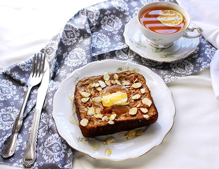 Cream cheese jam stuffed french toast served with tea