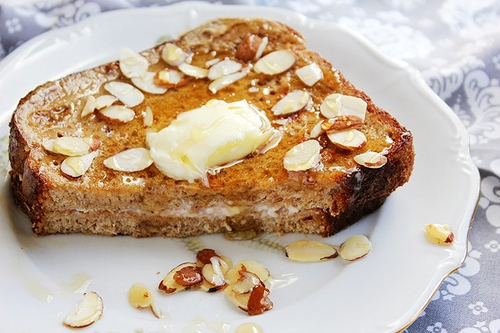 Cream cheese jam stuffed french toast on a plate
