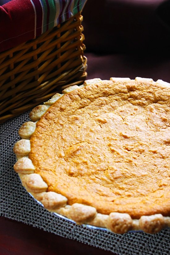 Side image of sweet potato pie.