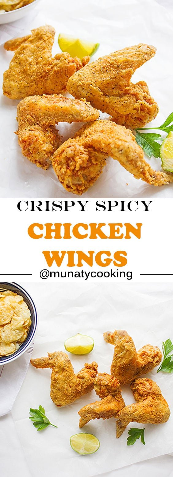 Crispy Spicy Chicken Wings, dredged in a well-seasoned flour, no eggs were used, yet crispy from the outside and tender from the inside. These chicken wings are perfect for dinner and your family will ask for it often. www.munatycooking.com | @munatycooking