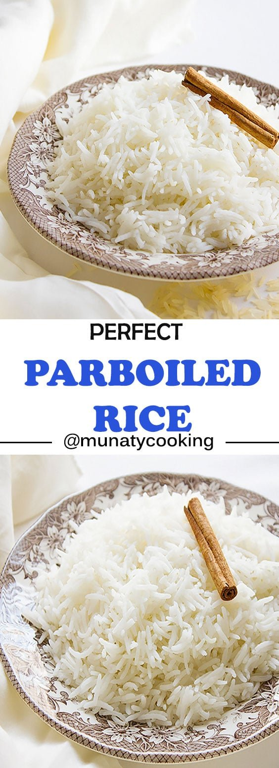 Parboiled Rice. In this recipe, I will teach you how to make basmati long grain parboiled rice. The amount of salt is measured to be perfect so is the water and the timing, you will enjoy cooking parboiled rice after this post. www.munatycooking.com | @munatycooking