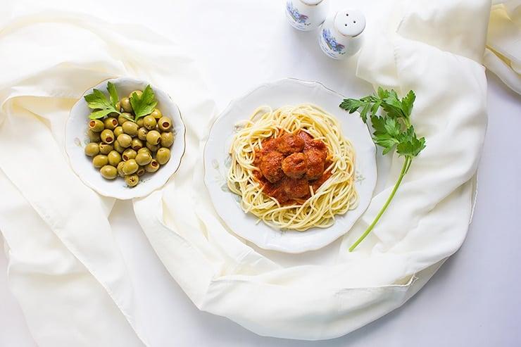 spaghetti and mini meatballs 1